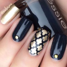 Going for a classic and elaborate manicure? Our Moroccan Nail Stencil is one of our easiest stencils to use ~ get the professional manicure you're looking for at home. Insides included with each Moroc Great Nails, My Nails, Hair And Nails, Fall Nails, Metallic Nails, Acrylic Nails, Nail Stencils, Beautiful Nail Designs, Nagel Gel