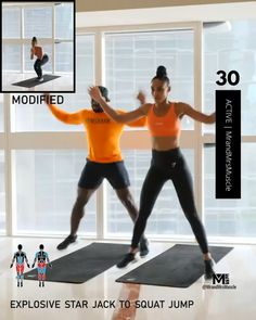 Need a sweaty cardio session? IG: mrandmrsmuscle's workout will make you work. Explosive Star Jack to Squat Jump Mountain Climbers Reach Jacks Running on the Spot Complete 4 rounds, with rest between each exercise. Fitness Workouts, Workout Cardio, Cardio Yoga, Full Body Hiit Workout, Hiit Workout At Home, Cardio Training, Gym Workout Videos, Fitness Workout For Women, Body Fitness