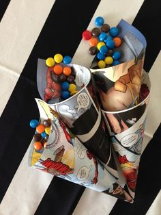 Super Heroes Birthday Party Ideas Use comic paper for various decorations.