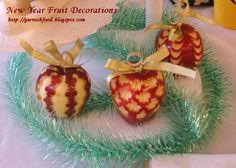 food garnish ideas | Fruit Carving Arrangements and Food Garnishes: New Year Apple Garnish