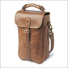 Gorgeous leather wine carrier and totally cool gift idea