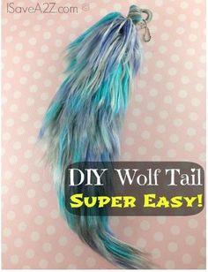 DIY Wolf Tail made out of yarn. You can use this to make pony tails