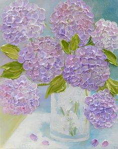 "Fresh Lavender Hydrangea's Oil Painting, "" Shabby Chic Mixed Hydrangeas "" ,Palette Knife Impasto Painting,"