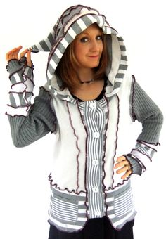 Grey und White stripe hOOdie  kostenlose wolle  XL von Fairytea