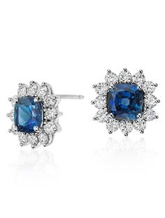 These 4.28 ct. tw. Cushion Cut Sapphire and Diamond Earrings are a one-of-a-kind 'something blue'