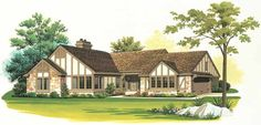 Tudor House Plan with 2114 Square Feet and 2 Bedrooms(s) from Dream Home Source | House Plan Code DHSW37557