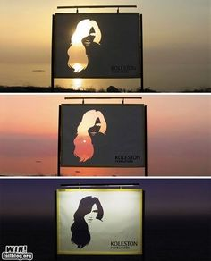 Creative way to emphasize change Amazing billboard creativity - Koleston Naturals Advertising: Change Street Marketing, Guerilla Marketing, Creative Advertising, Advertising Design, Advertising Ideas, Koleston, Funny Commercials, Funny Ads, Fun Funny