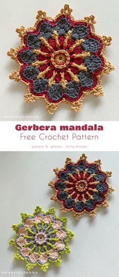 Gerbera mandala Gerbera Flower, Butterfly Flowers, Diy Flowers, Flower Diy, Crochet Home, Crochet Granny, Free Crochet, Knit Crochet, Crochet Diagram
