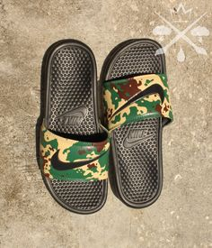 Nike Custom Military Camouflage Benassi Swoosh Camo Slide Sandals Flip flops Men's by DrippedCustomz on Etsy https://www.etsy.com/listing/244367995/nike-custom-military-camouflage-benassi