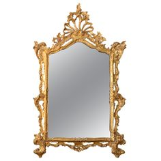 George III Rococo Giltwood Mirror with Open Cresting | From a unique collection of antique and modern wall mirrors at http://www.1stdibs.com/furniture/mirrors/wall-mirrors/