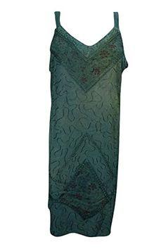 d92e25506e12a Mogul Women's Green Strappy Tank Tunic Embroidered V Neck Blouse M at  Amazon Women's Clothing store: