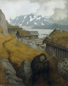 Pesta (the Black Death) walked from village to village, carrying a rake and a broom. If she used her rake, some might survive. If she used her broom, nobody would be left alive.   Illustration by Theodor Kittelsen