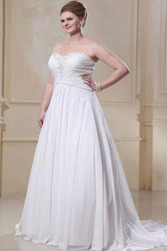Pleated Sleeveless Sweetheart White Plus Size Beading Wedding Dress