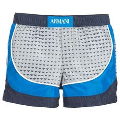 Smooth and Silky baby swim shorts with blue and grey Armani eagle logo design and elastic waistband. A must have item during the hot summer months. Mesh lining Pocket with logo on back 100% polyester Machine wash