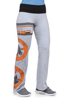 These Star Wars BB-8 Yoga Pants are stylish and comfy. Perfect for some relaxing yoga while showing off your fandom.   They feature a stretchy, fold-over waist with no pockets for a streamlined silhouette. BB-8 will be your Yoga buddy. It takes up one whole leg. They are 95% cotton and 5% span
