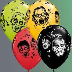 """Zombies ! Ballons Latex en 11"""" (30cm) Ils vont avoir un effet terrifiant pour vos soirées d'Halloween, de Pirate, de Zombies...  #WalkingDead #zombie #pirate #latex #halloween #qualatex #ballon #decor"""