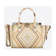 Valentino Garavani Native Couture 1975 Small Double Handle Bag ($2,155) ❤ liked on Polyvore featuring bags, handbags, studded handbags, valentino handbags, zipper purse, white studded purse and couture purses