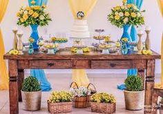 Resultado de imagem para casamento simples amarelo e azul