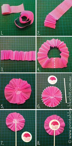 Styling idea for gift tags - create cupcake toppers with crepe paper ruffle.  http://www.printables.bluebit.com.au/index.php?id=style_gifttag_topper_ruffle