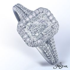 JB Star Radiant cut diamond in pave split shank mounting.