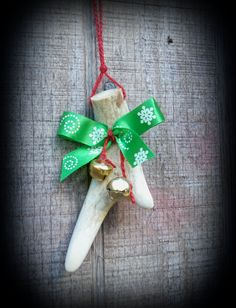 real deer antler ornament ,country Christmas, rustic by FindleysDreamTree on Etsy
