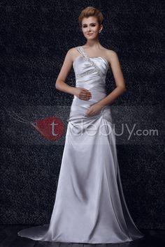 素晴らしいトランペット/マーメイド片肩コートプリーツダーシャカラーウェディングドレス