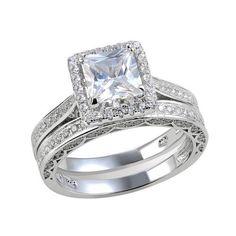 2 Pcs Women/'s Halo Princess Cut AAA CZ Engagement Wedding Ring Set Size 6-10