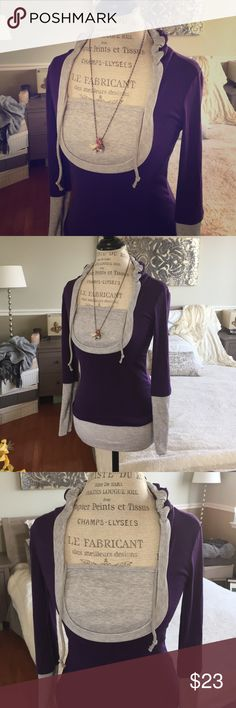 Casual Top Eggplant purple casual top with grave borders sleeves and trim on neck, great for working out or a trip to the mall.  Top also has a hoodie which adds a hint of cuteness! Top is snug firing and super soft! Tops