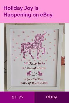 Personalised Framed Unicorn New Baby, Birth,Christening Girl Handmade Gift Birthday Frames, Handmade Frames, Unicorn Birthday, Beautiful Babies, First Birthdays, Shit Happens, Diy, Gifts, Celebrations