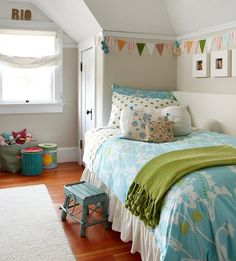 Colorful Girl's Rooms on BHG | I'm not 8, but I really like the color scheme. Robin's egg blue, a grassy green, a little bit of orange.