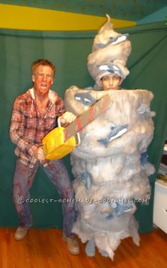 Fearless Fin Shepard Battles the Deadly Sharknado Couple Costume… Coolest Halloween Costume Contest