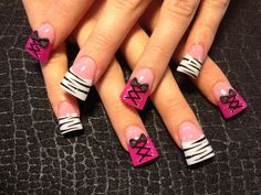 zebra and pink corsets - Nail Art Gallery