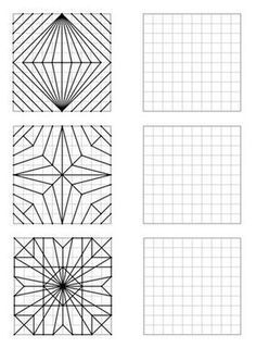 Here is a file of 30 geometric figures of increasing difficulty to repro - Holly's Education Archive Middle School Art, Art School, Arte Elemental, Graph Paper Art, Art Worksheets, Math Art, Paper Drawing, Elements Of Art, Zentangle Patterns