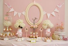 This is a good balance between the whites and picks but it would be better without the pink wall. The color of the border balances/compliments the other soft tones that are on the table that are not pink and white.