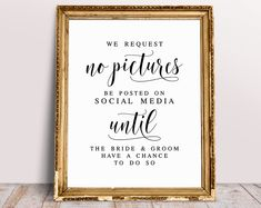 We Request No Pictures Be Poster On Social Media, Unplugged Wedding Sign, Wedding Signage, Wedding Signs, No Photos Wedding Sign Guest Book Sign, Wedding Guest Book, Wedding Signage, Reception Signs, Wedding Reception, Tuscan Wall Decor, Unplugged Wedding Sign, Font Names, Spelling And Grammar