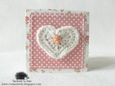 dots, wool, crochet, kwiaty, serce, heart, accordion book, leporello, mini photo album by CUDA OD RĘKI