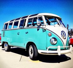 VW bus 60s. Love the color. And I love the 60s look because of all the windows it has and how they just pop open. I really love it!