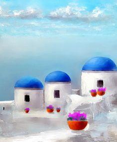 Into The Heavens Santorini Painting