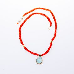 Carnelian Necklace with Chalcedony Pendant 24K Gold Vermeil Necklace from Wanderlust Jewels LLC for $420.00