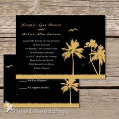 Wedding Invitations Online Coconut Tree And Sea Gull Beach Wedding Invitations - Black Wedding Invitations, Beautiful Wedding Invitations, Tree Wedding, Wedding Stuff, Wedding Ideas, Invitation Ideas, Invitation Cards, Invitations Online, Gull