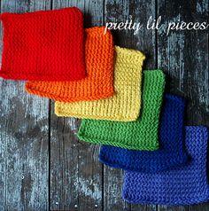 Rainbow wash cloths set of 6 by prettylilpieces on Etsy, $12.00 #washcloth #dishcloth #rainbow #red #orange #yellow #green #blue #purple #knitted #crocheted #handmade