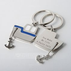 Personalized Favors - $9.99 - Personalized Boat Zinc Alloy Keychains (Set of 4) (051028908) http://jjshouse.com/Personalized-Boat-Zinc-Alloy-Keychains-Set-Of-4-051028908-g28908