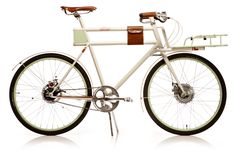 Faraday Porteur, an electric bicycle with a 250-watt motor; goes 10-15 miles on a single charge, has an awesome cargo rack that can hold 30 pounds.