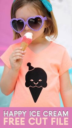 DIY Ice Cream Cone T-shirt with Free Cut File – Persia Lou Make this DIY Ice Cream Cone T-shirt in minutes with Iron On Vinyl and my free happy ice cream cone SVG cut file. It's so cute and easy to make! Diy Ice Cream, Ice Cream Party, Cricut Tutorials, Cricut Ideas, Cricut Craft, Vinyl Crafts, Vinyl Projects, Silhouette Cameo Projects, Diy Shirt
