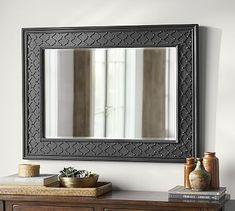 "499.00 34.5"" wide x  46"" high x  1.75"" deep Black Fretwork Wall Mirror #potterybarn"