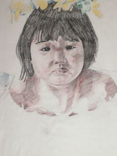 """Cute Little Filipino Girl""  Colored pencil, Early 1990's"