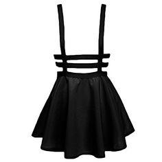 Urban CoCo Womens Elastic Waist Pleated Short Braces Skirt (Small, Black)
