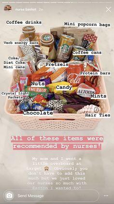 Nurse Gift Baskets, Hospital Gift Baskets, Goodie Basket, Hospital Gifts, Snack Gift Basket, New Mommy Gift Basket, Pregnancy Gift Baskets, Hospital Bag, Thank You Nurse Gifts