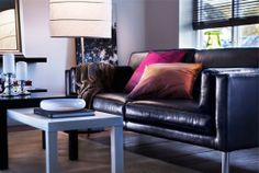 Thinking black leather couch/loveseat for the living room.