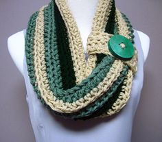 Chunky Bulky Button Crochet Cowl Sage Green by CrochetCluster